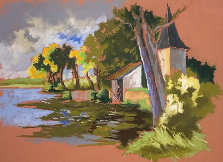 Le lac tranquille, pastel sec (finaliste au concours régional Couleurs de Bretagne)