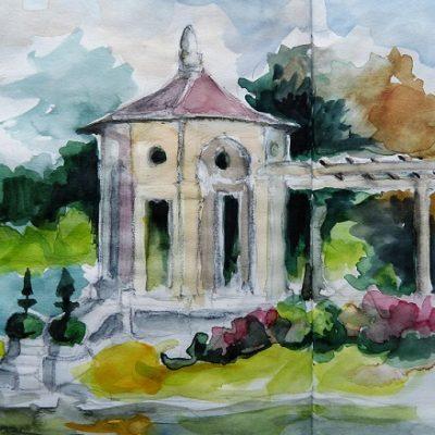 Villa Arnaga, la pergola du jardin à la française.