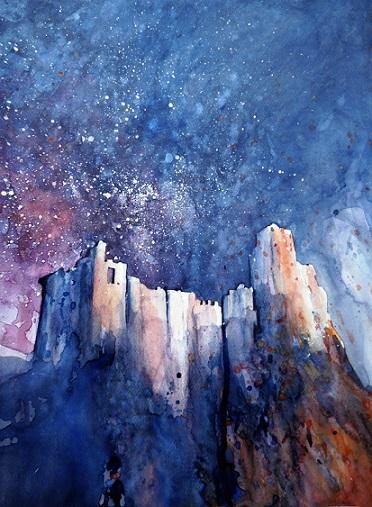 Poussières d'étoiles sur la forteresse (aquarelle,  50 x 40 cm)