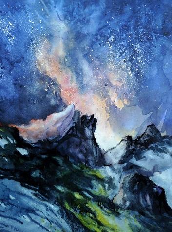 Chaos nocturne sur les Dents du Midi (aquarelle,  50 x 40 cm)