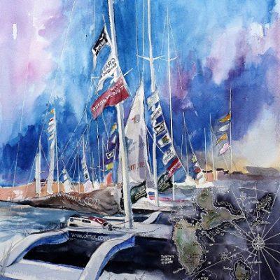 Saint-Malo, du Rhum au port, aquarelle