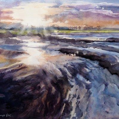 Miroitements sur la Baie, aquarelle (50 x 65 cm)