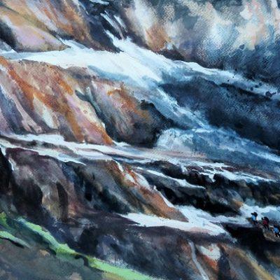 Tour des Dents du Midi, aquarelle 50 x 65 cm