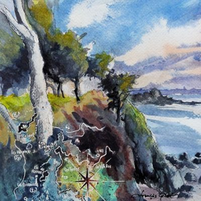 Île du Perron, aquarelle