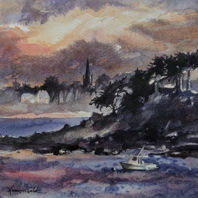 Contre jour sur la baie, aquarelle