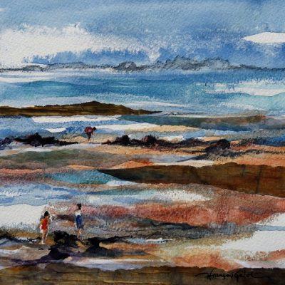 La pêche à pied, aquarelle (20 x 20 cm)
