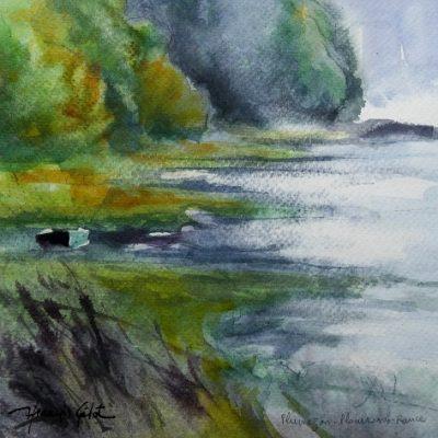 Anse de Plumazon, aquarelle (20 x 20 cm)