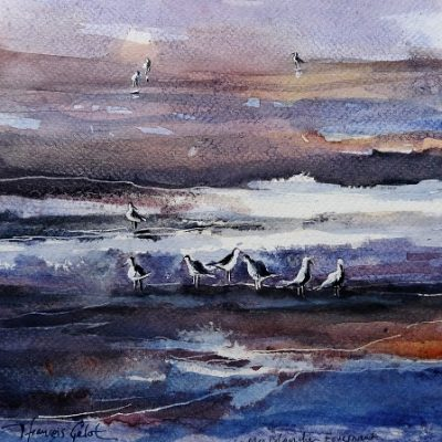 La Mer Blanche, aquarelle (20 x 20 cm)