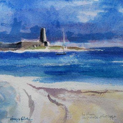 Le fort Cigogne, aquarelle (20 x 20 cm)