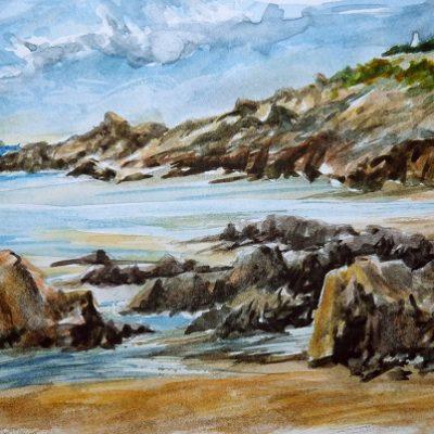 La petite plage (aquarelle)