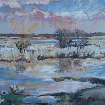 La Loire en crue, aquarelle sur carton