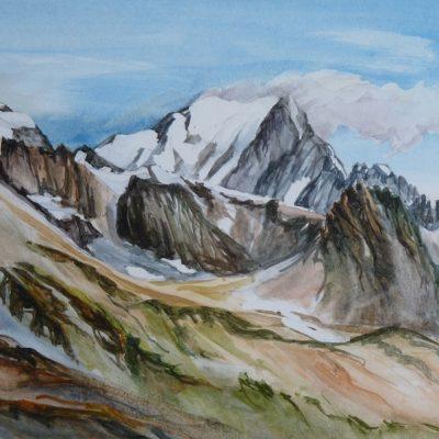 Le Mont Blanc - Versant Piémontais - , aquarelle
