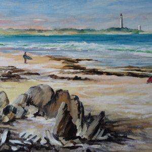 Surfers sur la plage de la Conche