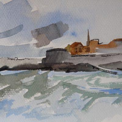 La Tour Bidouane et les remparts, aquarelle