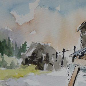Chalets d'Aujon, aquarelle (détail)