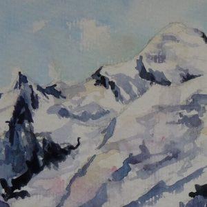 Les trois Mont-Blanc, aquarelle (détail)