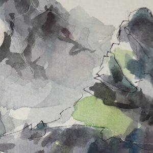 Désert de Platé, aquarelle (détail)