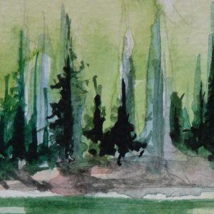 Le lac de Flaine et ses épicéas, aquarelle (détail)