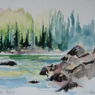 Le lac de Flaine, aquarelle