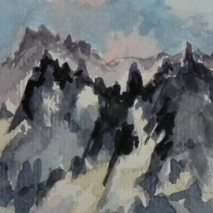 Les Grandes Jorasses, aquarelle (détail)