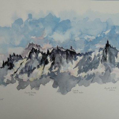 Des Grandes Jorasses à l'Aiguille du Midi, aquarelle