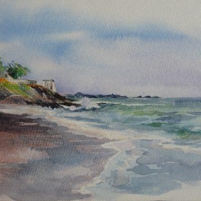 La plage du Port-Blanc et l'amer blanchi de la Fourberie (aquarelle, 30 x 20 cm).