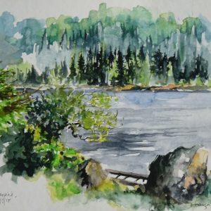 """Monts Chic-Chocs (Parc National de Gaspésie), """"Lac Cascapédia"""" (aquarelle, 25 x 18 cm)."""