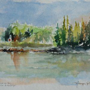 """Parc National du Bic, """"L'Anse à l'Orignal"""" (aquarelle, 25 x 18 cm)."""