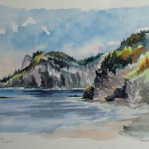 """Parc National Forillon : le """"Cap Bon-Ami"""" (aquarelle, 42 x 28 cm)."""