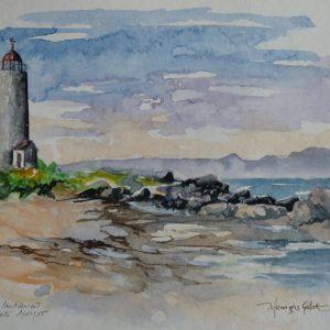 """Île Verte : au """"Bout-d'en-Bas"""", le phare (aquarelle, 25 x 18 cm)."""