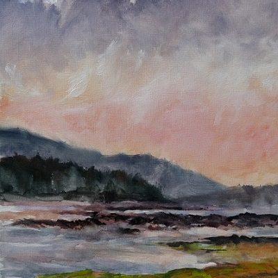 La côte découpée et les anses échancrées du Parc National du Bic. Huile sur toile (50 x 65 cm).