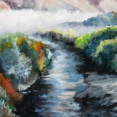 La rivière Cascapédia. Huile sur toile (50 x 65 cm).