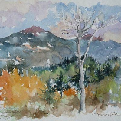 Randonnée vers le Mont Ernest Laforce et couleurs d'automne sur le Mont Richardson (1180 m). Aquarelle (18 x 25 cm).
