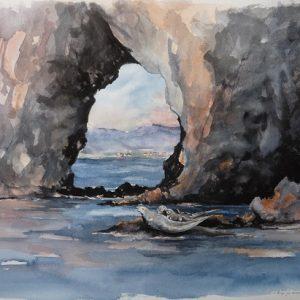 Phoques gris et phoques communs au pied de l'arche et des falaises du Rocher Percé. Aquarelle (50 x 65 cm).