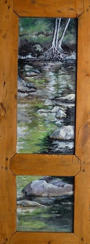 Le lac Cascapédia. Huile sur bois (36 x 90 cm).