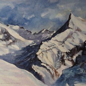 Massif du Mont-Blanc, aquarelle