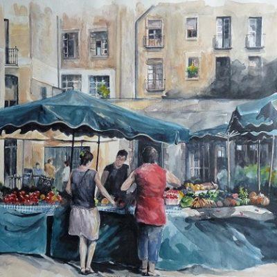 Le marché de la Boqueria, aquarelle