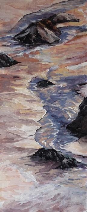 Marée basse, huile sur toile (20x60 cm).