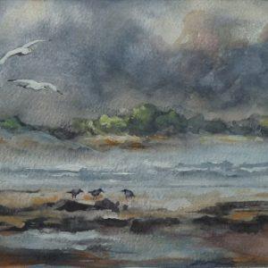 Après la pluie, aquarelle (40x20 cm).