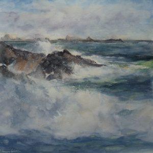 Flux et reflux, aquarelle (30x30 cm).