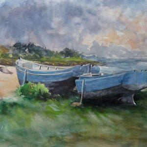 Barques sur la grève, aquarelle (50x40 cm).