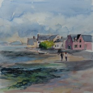 Île Tudy, aquarelle (30x30 cm).