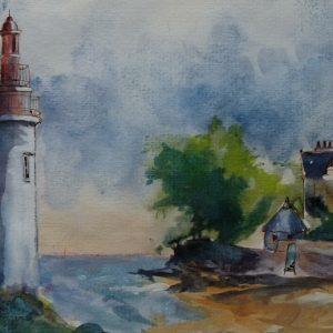Villa et phare de Langoz, aquarelle (20x60 cm).