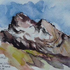 Haute Cime, aquarelle (21 x 13,5 cm)