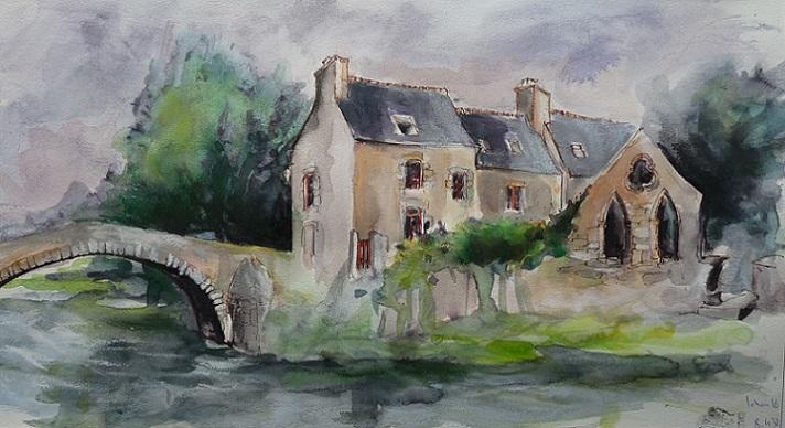 Léhon : le refuge de l'Abbé Mathurin, aquarelle