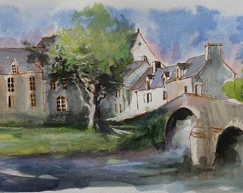 Léhon : le pont sur la Rance, aquarelle