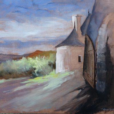 Rochefort-en-Terre : la porte du Château, huile sur carton