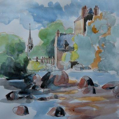 Pont-Aven : chaos de rochers sur l'Aven, aquarelle et lavis