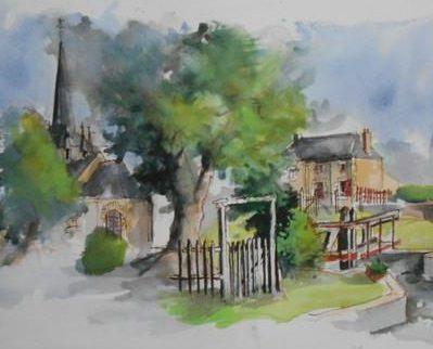 Saint-Germain-sur-Ille : l'église, l'écluse et la mairie, aquarelle