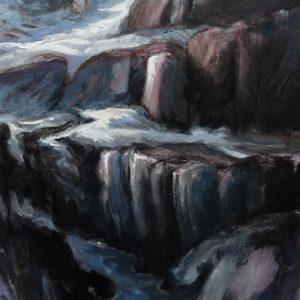 Glacier du Mont Ruan, huile sur bois